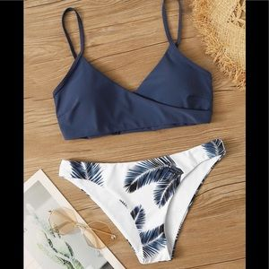 SHEIN Palm Random Print Adjustable Strap Bikini